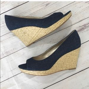 Bandolino denim peep toe wedge sandals